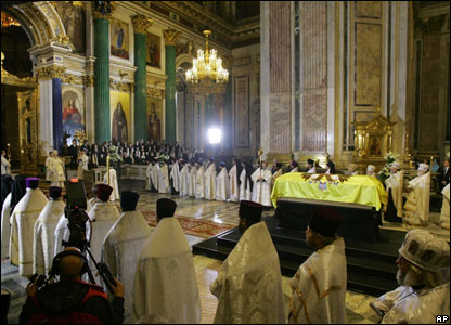 Ceremony in St Isaac's Cathedral in St Petersburg