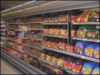 Supermarket shelves (Image: BBC)