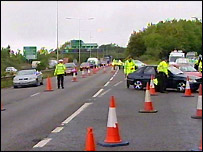 Police checkpoint on the A229