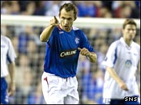 Thomas Buffel celebrates scoring the opening goal for Rangers against Molde