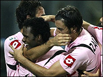 Fabio Simplicio celebrates his goal for Palermo against West Ham