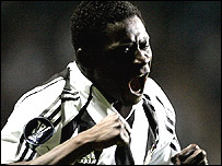 Obafemi Martins celebrates his first goal against Levadia