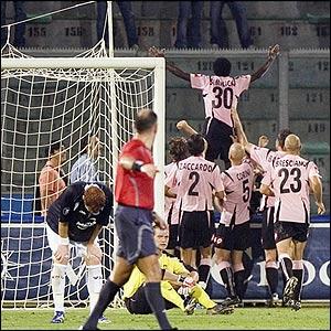 Simplicio celebrates after scoring