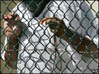 A detainee at the Guantanamo Bay detention centre (file image)