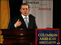 El presidente de Colombia, Álvaro Uribe (archivo)