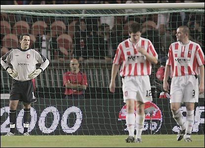 Derry goalkeeper David Forde looks dejected after PSG's second goal