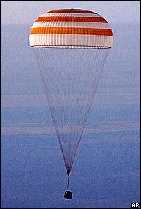 Sonda Soyuz en descenso a la Tierra