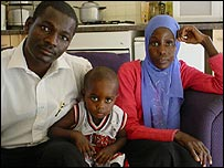 Hamid and his family (his wife Fatima Abdelshafi and their child)