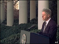 Bill Clinton in 1998 making a statement of contrition before the House Judiciary Committee voted to impeach him