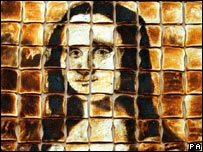 The Mona Lisa made from burnt toast