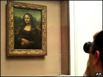 A tourist views the Mona Lisa