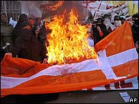 Protesters in Pakistan burn a Danish flag (24 February 2006)