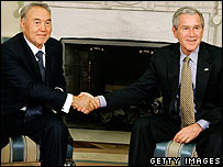 Kazakh President Nursultan Nazarbayev and US President George W Bush