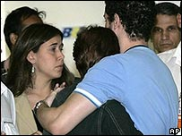 Relatives of passengers on missing plane at airport in Rio de Janeiro, Brazil