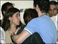 Relatives of plane passengers at airport in Rio de Janeiro, Brazil