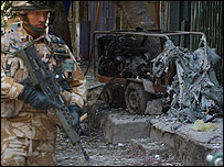 Aftermath of bombing outside Kabul interior ministry