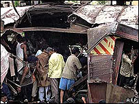Train bombings wreckage