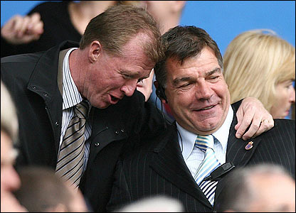 England manager Steve McLaren shares a joke with Bolton boss Sam Allardyce