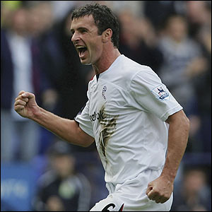 Gary Speed celebrates giving Bolton the lead