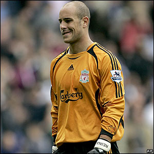Liverpool's keeper Jose Reina shows his frustration