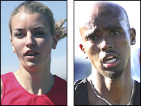 Becky Lyne and Mo Farah