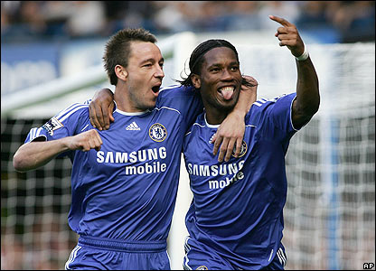 Didier Drogba celebrates giving Chelsea the lead at Stamford Bridge