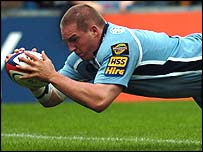 Cardiff Blues prop Gethin Jenkins scores the opening try against Wasps