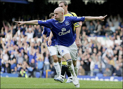 Everton's Andy Johnson celebrates