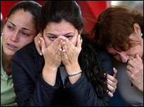 Distraught relatives at a hotel in Brasilia