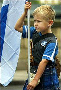 Nine-year-old Craig Wallace takes part in the Scottish independence rally