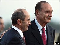 Жак Ширак (справа) и Роберт Кочарян