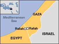 Map of Gaza and Egypt showing Rafah