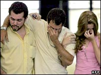 Distraught relatives at the Manaus airport in Brazil