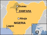 Map showing Zamfara state in Nigeria