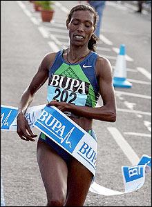 Ethiopia's Berhane Adere wins the women's race