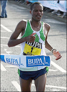 South Africa's Hendrick Ramaala wins the men's race