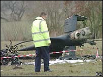 Stephen Curtis' helicopter crashed in early March, 2004