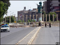 Deserted street in Baghdad during the curfew