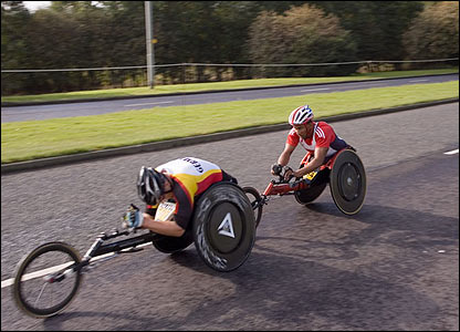 Wheelchair competitors in action on Tyneside