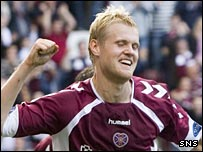 Juho Makela celebrates his goal against Dundee United