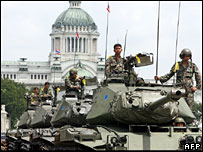 Tanks leaving the Royal Plaza on Sunday