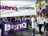 Recent protest by BenQ-Siemens staff in Germany