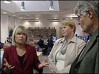 Heather Tomlinson (l), Jos Clark and Chris Woodhead