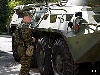 Russian officer at Russian military HQ in Tbilisi