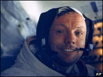 Neil Armstrong in the Apollo 11 module