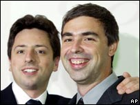 Google founders Sergey Brin, left, and Larry Page
