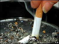 Cigarette in ashtray (PA)