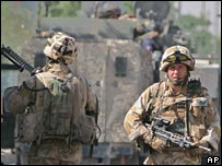 British troops on patrol in Basra