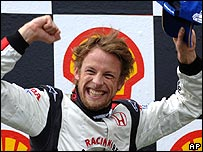 Jenson Button celebrates victory at the Hungarian Grand Prix