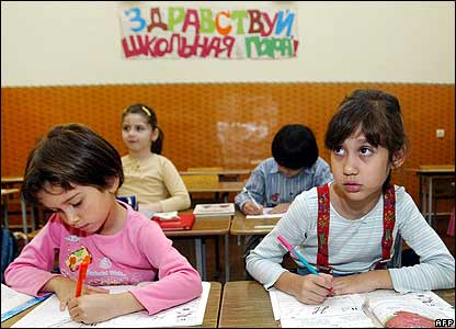Children of Russian military staff attend school in Tbilisi on 2 October
